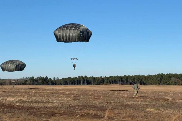 US Army Soldiers complete a jump during their third training week at Fort Benning, Ga. airborne school. US Army photo