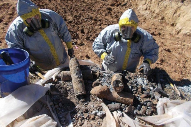 The U.S. Army Corps of Engineers conducts environmental restoration activities at Pine Bluff Arsenal, Arkansas. Once recovered, U.S. Army Recovered Chemical Materiel Directorate responds to any suspect recovered chemical warfare materiel to assess for safe handling and storage until destruction operations.