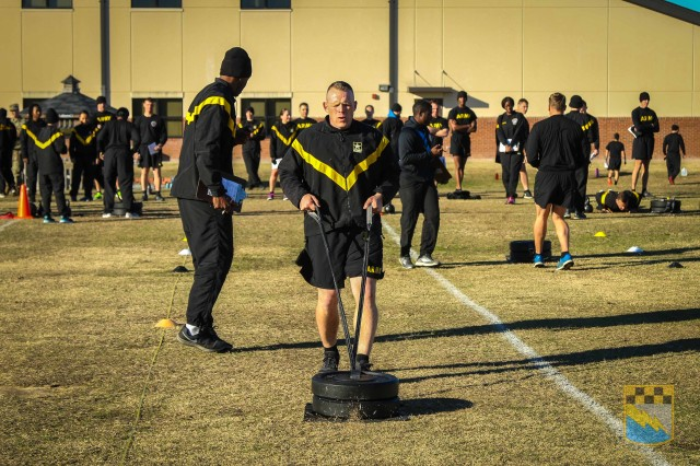 1st Sgt. Aaron Shrock, assigned to Bravo Company, 519th Military Intelligence Battalion, 525th Military Intelligence Brigade, executes the sprint drag carry event during the field testing of the Army Combat Fitness Test at Fort Bragg, N.C. on Jan. 9, 2019.
