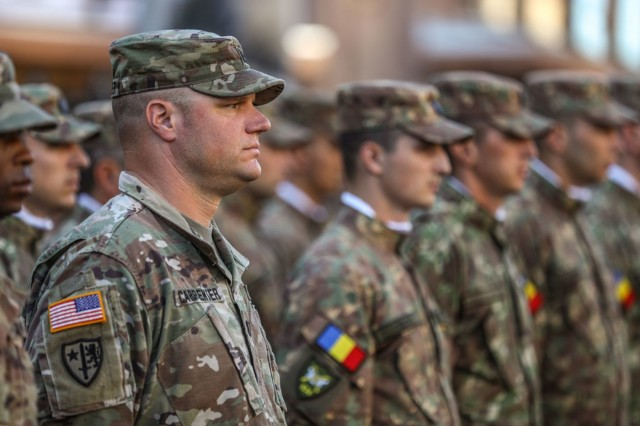 Cpt. William Carter stands alongside multinational Soldiers during the Ukrainian Independence Day parade in Kyiv, Aug. 24.