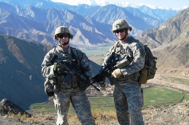 Col. William Ostlund (left) with Command Sgt. Maj. Bradley K. Meyers, in Kunar Province while serving as the command team for 2nd Battalion, 503rd  Infantry Regiment—The ROCK.  They served together as a command team in combat on three occasions.