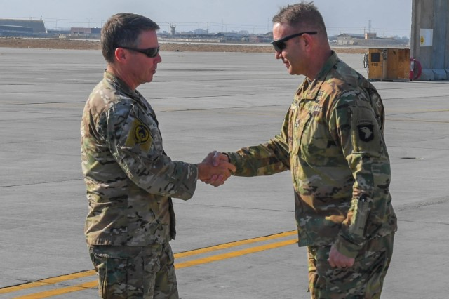 Gen. Austin S. Miller, Resolute Support Mission commander, visits 6th Battalion, Task Force Shadow, 101st Combat Aviation Brigade, 101st Airborne Division ( Air Assault), at Bagram Airfield, Afghanistan Dec.24, 2018. Miller was able to interact with Soldiers as they shared their knowledge on their respective missions while deployed. Miller also took thus opportunity to present Combat Action Badges to nine Destiny Soldiers during his Christmas Eve visit.