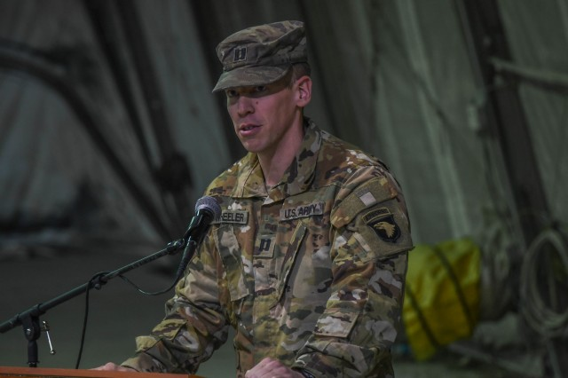 Company D, 6th Battalion, Task Force Shadow, 101st Combat Aviation Brigade, 101st Airborne Division ( Air Assault), bids farewell to Capt. Stephen Wheeler and welcomes Capt. David Johnson during a change of command ceremony at Bagram Airfield Jan. 5, 2018.