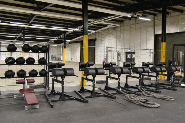 A sample of the variety of equipment at Rhine Ordnance Barracks Functional Fitness Area. The facility contains a variety of equipment, to include rigs, barbells, rowing machines, air bikes, medicine balls, kettlebells, glute ham developers, a rope, rings and more.