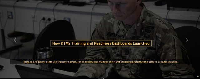 New DTMS Training and Readiness Dashboards
