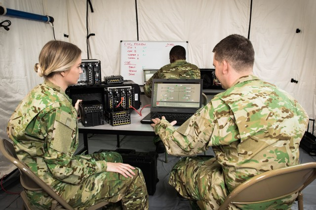 In this staged photo, PacStar imagines what a command post using the company's secure communications modules would look like for Soldiers in a deployed environment. (Photos courtesy of Pacific Star Communications Inc.)