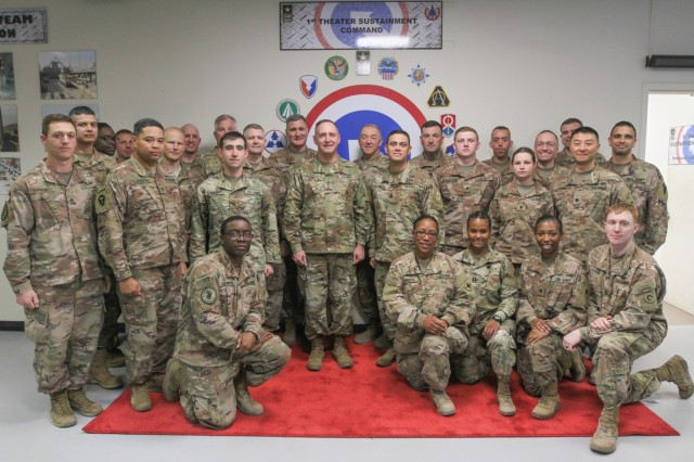The Judge Advocate General of the U.S. Army, Lt. Gen. Charles N. Pede, visited 184th Sustainment Command leaders and legal teams at Camp Arifjan, Kuwait, Jan. 10, 2019. (U.S. Army National Guard photo by Staff Sgt. Veronica McNabb)