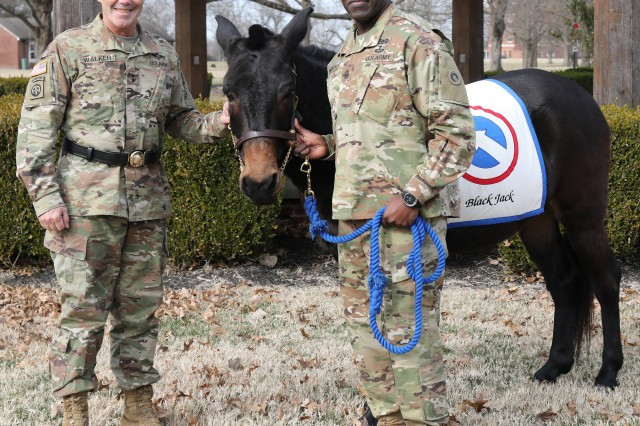"FORT KNOX, Ky. - Maj. Gen. Flem B. ""Donnie"" Walker, Jr., commanding general, left and Command Sgt. Maj. Bernard P. Smalls, Sr., both of the 1st Theater Sustainment Command, pose with Sgt. Blackjack, the official 1st mascot before the Assumption of Responsibility Ceremony, Jan 11. Smalls has been working as the CSM for the past 60 days and was officially recognized as the Command Sgt. Maj. for the 1st TSC."