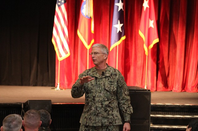 Adm. Craig S. Faller, Commander of U.S. Southern Command, speaks to the U.S. Army South personnel during a Town Hall on Joint Base San Antonio-Fort Sam Houston on Jan. 10.