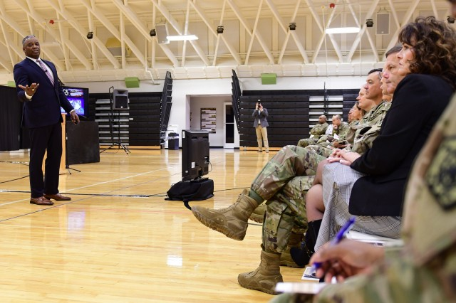 "Retired Maj. Gen. Barrye Price, former deputy commander of U.S. Army Cadet Command, asks those in attendance at the Fort Knox Martin Luther King Jr. birthday observance in Sadowski Center Jan. 11, 2019, to ""bring King down from the elevated status that many hold him ... that we might lift him up and recognize his contributions."""