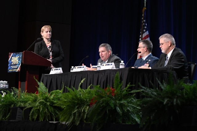 S&T executive panel at the 2018 Defense Manufacturing Conference (left to right) Former Deputy Assistant Secretary of Defense (Acquisition) the Honorable Katharina McFarland; Deputy Assistant Secretary of the Army Research and Technology and Army Chief Scientist Dr. Thomas Russell; Commander, Air Force Research Laboratory Maj. Gen. William Cooley; and Research and Development Portfolio Director, Office of Naval Research Dr. David Walker.