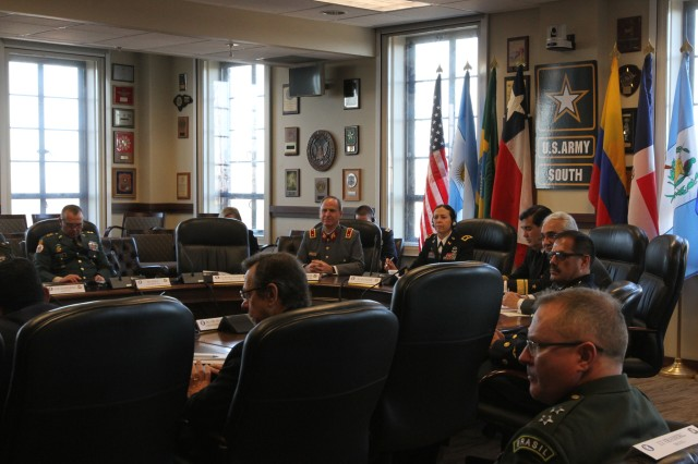 Representatives from more than 15 countries participated in the 6th annual Inter-American Legal Forum at Joint Base San Antonio-Fort Sam Houston Dec. 11-13. During the day, the senior legal advisors gathered at U.S. Army South headquarters to discuss developments in military justice and operational law.