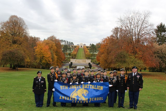 9th JROTC Battalion formation at Meuse-Argonne American Cemetery