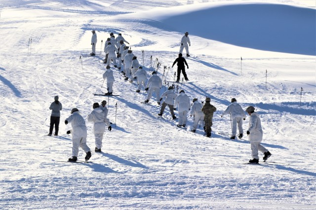 Students in the Fort McCoy Cold-Weather Operations Course (CWOC) Class 19-02 start their skiing orientation and familiarization Jan. 10, 2019, at Whitetail Ridge Ski Area at Fort McCoy, Wis. In addition to skiing, CWOC students are trained on a variety of cold-weather subjects, including snowshoe training as well as how to use ahkio sleds and other gear. Training also focuses on terrain and weather analysis, risk management, cold-weather clothing, developing winter fighting positions in the field, camouflage and concealment, and numerous other areas that are important to know in order to survive and operate in a cold-weather environment. The training is coordinated through the Directorate of Plans, Training, Mobilization and Security at Fort McCoy. (U.S. Army Photo by Scott T. Sturkol, Public Affairs Office, Fort McCoy, Wis.)