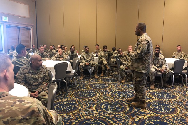 Command Sgt. Maj. Maurice V. Chaplin, the 8th Theater Sustainment Command's Senior Enlisted Leader discusses the need for quality warrant officers during a warrant officer professional development session.