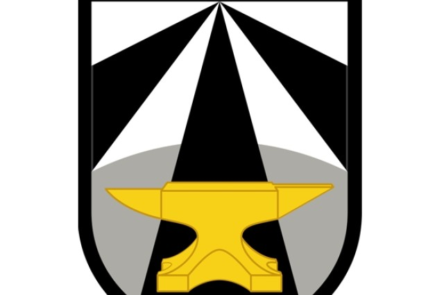 The Army Futures Command patch contains a golden anvil meant to represent fortitude, determination and perseverance. The black and white stripes merge to point to the future. The black, white and gold represent the colors of the U.S. Army, and are representative of the Army Futures Command's most recent move toward full operational capability.
