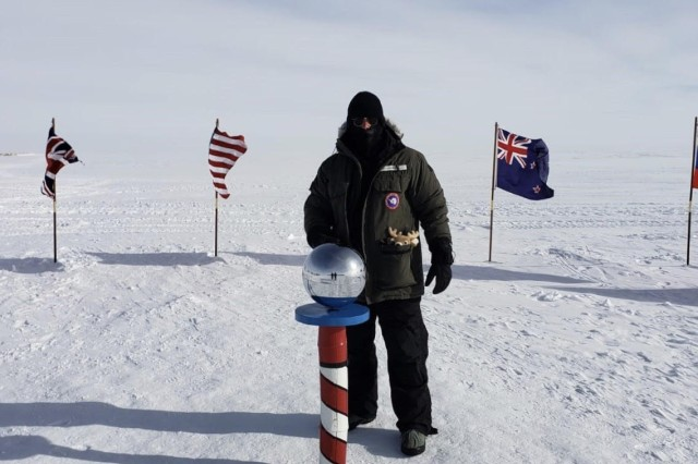 Class of 2019 Cadet William Merrill, pictured at the South Pole, was one of three service academy students who got to experience a trip to Antarctica  Dec. 16-30 as part of an internship program offered by the National Science Foundation.