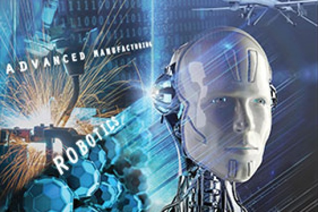 Artificial intelligence, robotics and advanced manufacturing were the theme of the April-June 2017 issue of Army AL&T magazine and its cover art is shown here.