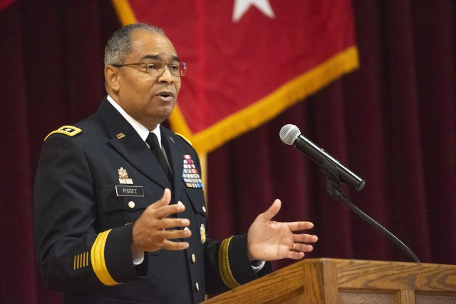 Lt. Gen. Aundre Piggee, the Army deputy chief of staff for logistics, speaks during a ceremony in honor of Dr. Martin Luther King Jr. at Joint Base Myer-Henderson Hall, Va., Jan. 17, 2019. Piggee shared his own experiences of dealing with racism while growing up in the segregated south and how his parents taught him to live by King's example.