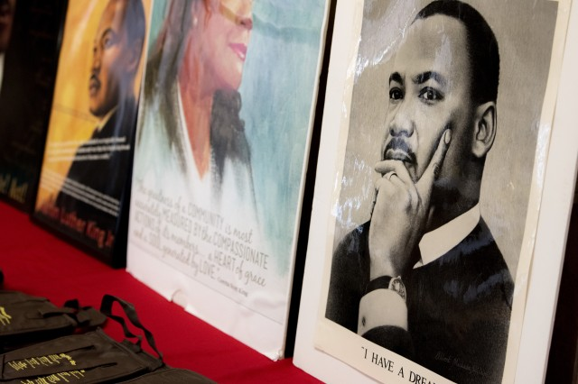 Images of Dr. Martin Luther King Jr. are seen on display during a ceremony at Joint Base Myer-Henderson Hall, Va., Jan. 17, 2019.