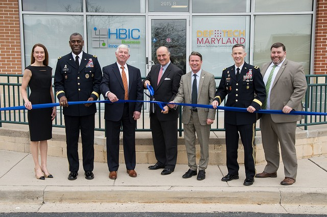 Aberdeen Proving Ground leaders join with government and business leadership from Harford County to cut the ribbon for the DEFTECH, the Maryland Defense Technology Commercialization Center, in Havre de Grace, Harford County, Maryland.