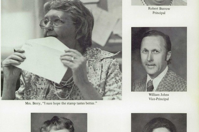 This 1977 Fort Knox High School yearbook page features Bob Burrow and his staff during the 1976-77 school year. Burrow was instrumental in hiring Joe Jaggers to join the faculty. Jaggers led the Eagles football team through its dynasty years shortly after, including state championships and school records.
