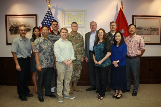 FORT SHAFTER, Hawaii - (Jan. 14, 2019) Members of the Pacific Ocean Division (POD) pose for a group photo after kicking off the 2019 U.S. Army Corps of Engineers Leadership Development Program (ULDP) training seminar at POD headquarters, Fort Shafter, Hawaii, Monday. POD Commanding General, Brig. Gen. Thomas Tickner (back row, center-right) and U.S. Army Corps of Engineers Director of Military Programs Lloyd Caldwell (back row, center-right), lead a leadership discussion with participants. The regional level training, which includes nine GS-13 and GS-14 participants from the division and districts, focuses on providing leadership tools and exposing participants to leadership styles and opportunities.
