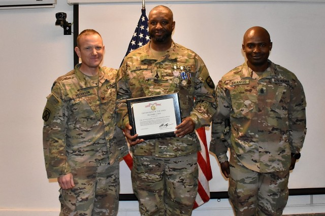 Department of Defense Expeditionary Civilian (DOD-EC) Jimmie Reid was awarded the NATO Medal, Global War on Terrorism Medal, a Certificate of Wartime Service and the Outstanding Civilian Service Award for his service to the Area Support Group-Afghanistan (ASG-A) from 2017 to 2019 during a ceremony at Bagram Airfield , Jan. 11, 2019. The awards were presented by ASG-A Commander Col. Jacob Peterson.
