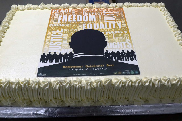 Shown is a cake baked for attendees following the Dr. Martin Luther King Jr. observance ceremony Jan.21 at Bagram Airfield, Afghanistan. (Photo by Jon Micheal Connor, Army Public Affairs)