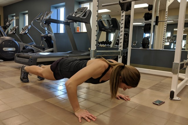 1st Lt. Gennifer Thompson, an Army Reserve soldier with the 90th Sustainment Brigade, 4th Sustainment Command (Expeditionary) does push-ups during a lunch break workout on January 17, 2019, at Colorado Springs, Colorado. Thompson suffered a serious spinal injury in October 2014 that requires her to maintain a rigorous fitness routine. 1st Lt. Thompson's dedication to fitness and recovery demonstrates that America's Army Reserve units are trained to deploy bringing capable, combat-ready, and lethal firepower in support of the Army and our joint partners anywhere in the world.