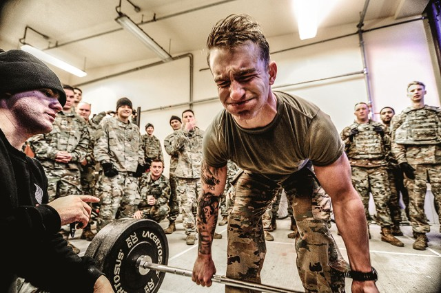 """A combat engineer assigned to the 173rd Airborne Brigade, finds motivation while participating in """"Battle for the Castle,"""" Dec. 14, 2018 in Vicenza, Italy."""