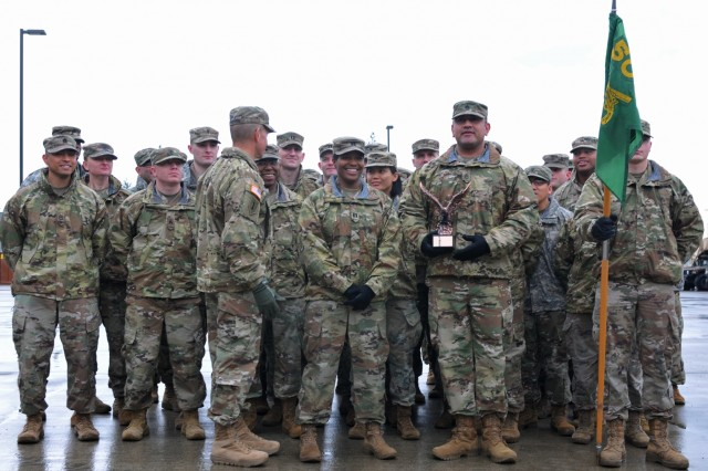 Command Sgt. Maj. Michael Grinston, command sergeant major for U.S. Army Forces Command, addresses the soldiers of the Headquarters and Headquarters Detachment, 504th MP (Military Police) Battalion, after presenting the FORSCOM Military Police Readiness Eagle Award Jan. 9, 2019, at the 504th Battalion Motorpool, Joint Base Lewis-McChord, Washington. Grinston is the former command sergeant major for First Corps at Joint Base Lewis-McChord and spoke highly of his former duty station. (U.S. Army photo by Pvt. Laurie Ellen Schubert)