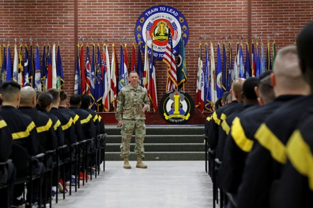 Command Sgt. Maj. Michael Grinston, U.S. Forces Command's Command Sergeant Major, speaks to students at the First Corps Basic Leaders Course at Joint Base Lewis-McChord, Washington, on Jan. 1, 2019. Before Grinston was named the FORSCOM CSM, he was the I Corps CSM. (U.S. Army photo by Sgt. Kyle Larsen)