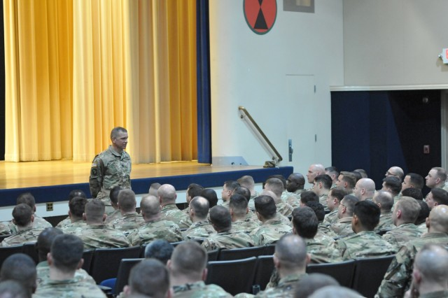 Command Sgt. Maj. Michael Grinston, command sergeant major for U.S. Army Forces Command, conducts a town hall meeting with senior leaders across Joint Base Lewis-McChord Jan. 9, 2019, at Carey Theatre, Joint Base Lewis-McChord, Washington. Grinston held the meeting to discuss concerns and suggestions to implement across FORSCOM. (U.S. Army photo by Pvt. Laurie Ellen Schubert)
