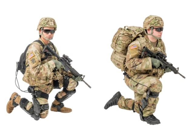 Soldiers from Army's 10th Mountain Division at Fort Drum, New York, were able to get hands on and try two of the current human augmentation technologies (pictured here) being pursued by the RDECOM Soldier Center. The Soldier on the left is wearing the ONYX and the Soldier on the right is wearing the ExoBoot.