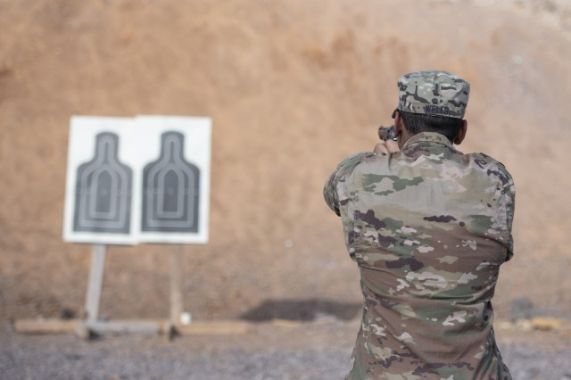A U.S. Army Soldier from 1-141 Infantry Regiment, Task Force Alamo, Texas National Guard, assigned to Combined Joint Task Force-Horn of Africa, practices before the official marksmanship portion of the German Armed Forces Badge for military proficiency at the Arta Range Complex, Djibouti, Jan. 17, 2019. Competing for the badge offered a unique opportunity to Soldiers and worked as an information exchange between the U.S. and Germany militaries.