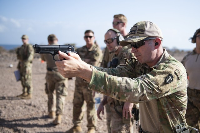 U.S. Army 1st Sgt. Jack Lamb, Bravo Company, 1-141 Infantry Regiment, Task Force Alamo, Texas National Guard, assigned to Combined Joint Task Force-Horn of Africa, practices before the official marksmanship portion of the German Armed Forces Badge for military proficiency at the Arta Range Complex, Djibouti, Jan. 17, 2019. Competing for the badge offered a unique opportunity to Soldiers and worked as an information exchange between the U.S. and Germany militaries.