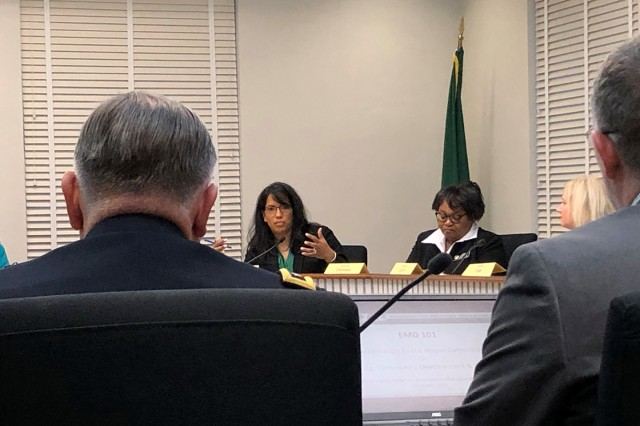 Rep. Kristine Reeves, 30th Legislative District, asks a question to Maj. Gen. Bret Daugherty about current pay for Washington National Guardsmen during state active duty during a House Committee on Housing, Community Development & Veterans hearing in Olympia, Wash. on January 23, 2019.
