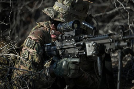 Soldiers assigned to the 101st Airborne Division (Air Assault), with the East Africa Response Force train alongside each other during a situational training exercise at Camp Lemonnier, Djbouti, Dec. 13, 2018. The purpose of the EARF is to rapidly provide tailorable packages of forces to protect American interests on the African continent should any threats arise.