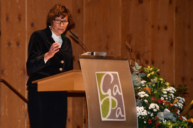 GARMISCH-PARTENKIRCHEN, Germany - Lord Mayor of Garmisch-Partenkirchen Dr. Sigrid Meierhofer about the challenges and future construction projects in this small town in Bavaria, bordering Austria, during the New Year's Reception cohosted by the City of Garmisch-Partenkirchen and Marshall Center German Element at the Kongresshaus (Congress Hall) Jan. 23 here. For more photos, please visit the Marshall Center Photo Gallery. (DOD photo by Karl-Heinz Wedhorn/RELEASED)