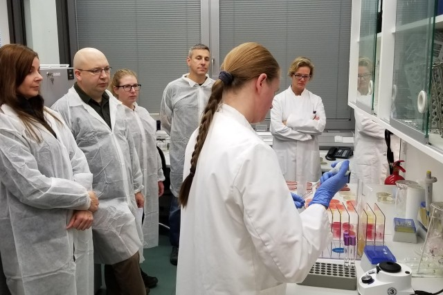 The Bundeswehr shows their microbiological lab at the Bundeswehr hospital in Berlin to the staff from Public Health Command Europe.