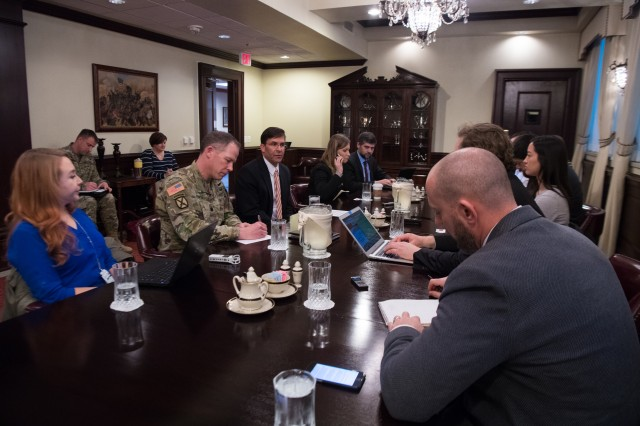 Secretary of the Army Dr. Mark T. Esper (3rd from left) speaks to Defense writers during a media roundtable meeting at the Pentagon, Jan. 24, 2019.