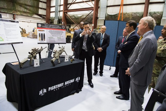 Secretary of the Army Dr. Mark T. Esper visits Picatinny Arsenal, N.J., to view the Armament Research, Development, and Engineering Center's soldier lethality and modernization efforts Oct. 25, 2018.