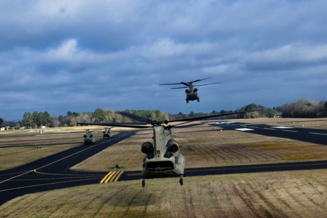 Eight CH-47 Chinook helicopters from B Company, 2nd Battalion, 227th Aviation Regiment, 1st Air Cavalry Brigade, 1st Cavalry Division, lead the way flying from Fort Hood, Texas to Fort Polk, La., on Jan. 4. The CH-47s were the first helicopters to arrive at the Joint Readiness Training Center in order to conduct rapid refueling operations for the rest of the helicopters in Task Force Lobos. TF Lobos' mission at JRTC was to support the 2nd Security Force Assistance Brigade.