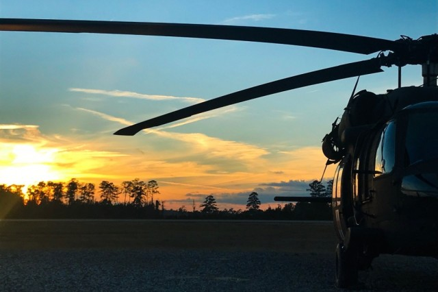 An Army UH-60 Black Hawk is positioned on Polk Army Airfield ready for a night flight, Jan. 17. Aeromedical evacuation crews from Arizona National Guard were also assigned to Task Force Lobos during the Joint Readiness Training Center rotation.