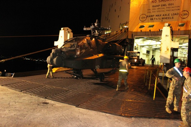 Soldiers upload an Apache helicopter during port operations in support of the 25th Combat Aviation Brigade at Pearl Harbor on Jan. 8.