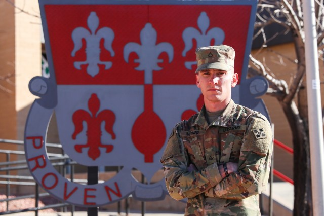 Pfc. Adrian Vetner, a horizontal construction engineer with Alpha Company, 52nd Brigade Engineer Battalion, 2nd Infantry Brigade Combat Team, 4th Infantry Division, stopped a robbery at local hardware store in Fountain, Colo., Nov. 27, 2018.