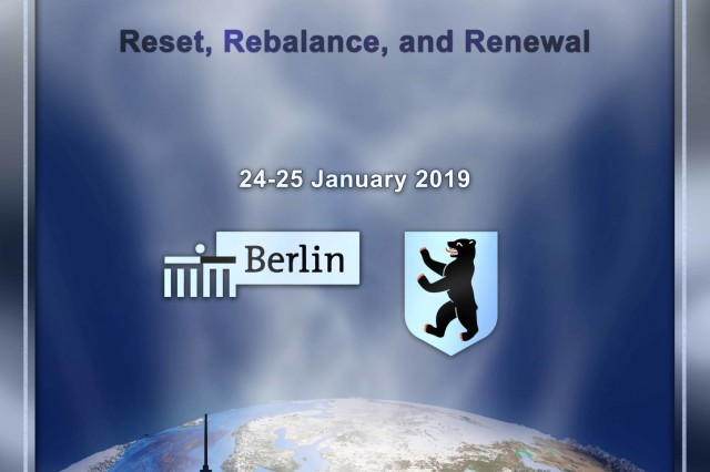 "BERLIN, Germany (Jan. 25, 2019) The George C. Marshall European Center for Security Studies and the Bundesakademie für Sicherheitspolitik (Federal Academy for Security Policy) hosted the second-annual conference on ""Transatlantic Relations:  Reset, Rebalance and Renewal"" Jan. 24 and 25 here. (DOD graphic by M. Zachary Sherman/RELEASED)"
