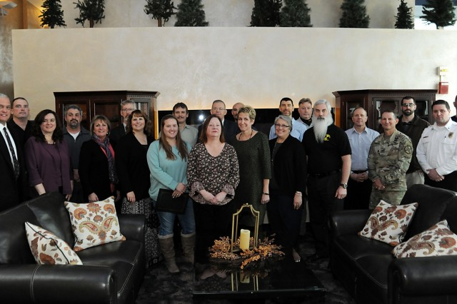Fort Drum community members gathered Jan. 24 to recognize the accomplishments of civilian employees across the installation for the first quarter of fiscal year 2019 as well as the 2018 Outstanding Civilian of the Year recipients. Pictured, Civilian of the Quarter awardees are photographed at the Commons after the ceremony. (Photo by Glenn Wagner, Fort Drum Visual Information)
