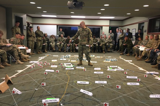 Command and General Staff Officer's Course students and faculty conduct a combined arms rehearsal at Fort Leavenworth, Kansas.